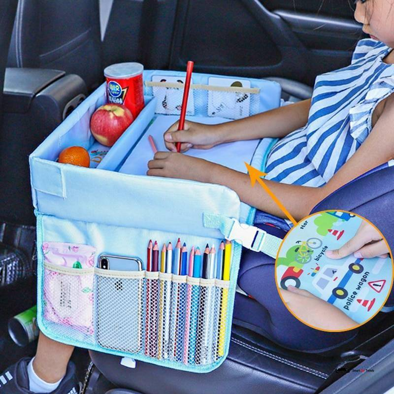 Upgraded Multifunction Autos Baby Seat Tray Waterproof Table Car Seat Tray Storage Kids Toys Infant Holder Cartoon Baby Fence Car Accessories